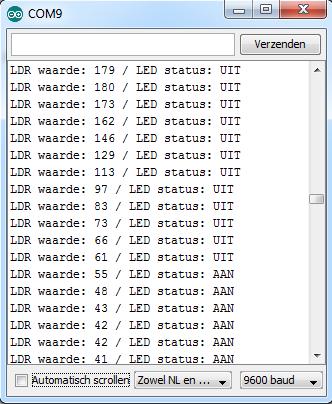 Arduino basics LDR+LED resultaat