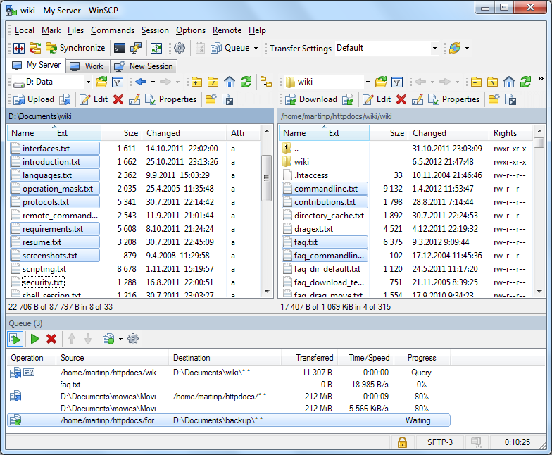 WinSCP 5.5.2 screenshot