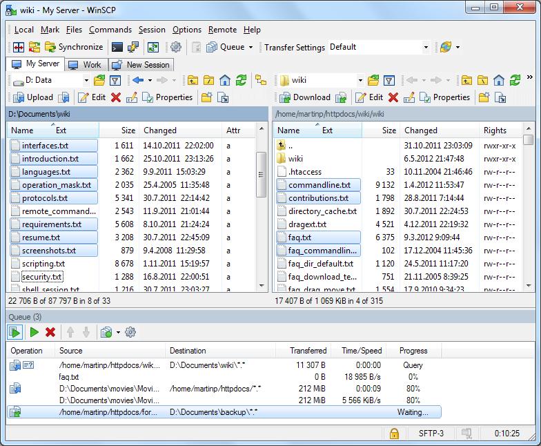 WinSCP 5.5.2 screenshot