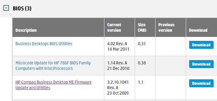 hp dc5800 me firmware 01