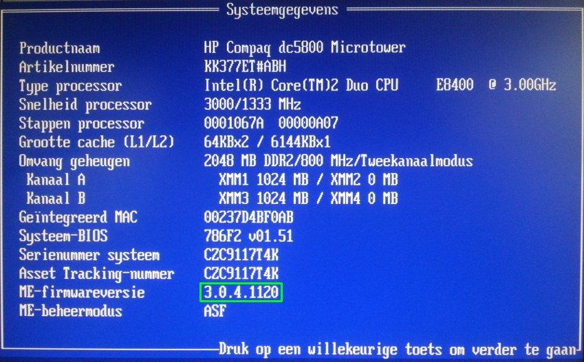 hp dc5800 me firmware voor