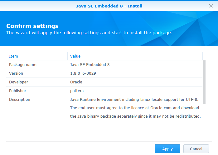 java op synology nas 07 (java 8)