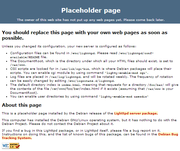 raspberry lighttpd webserver placeholder
