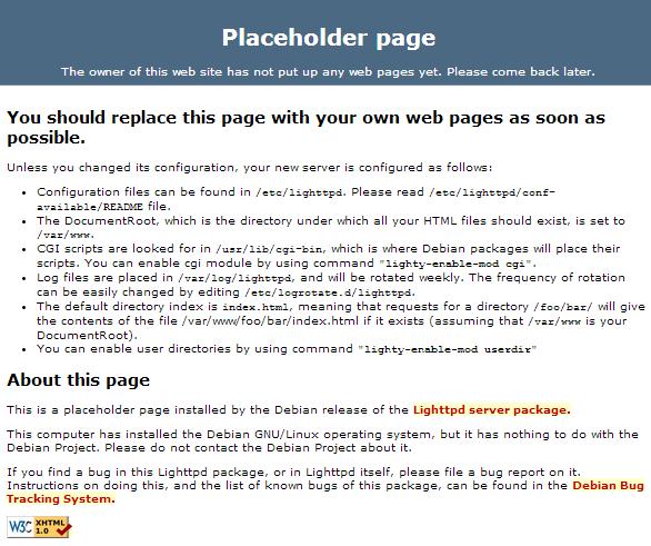 raspberry lighttpd webserver placeholder