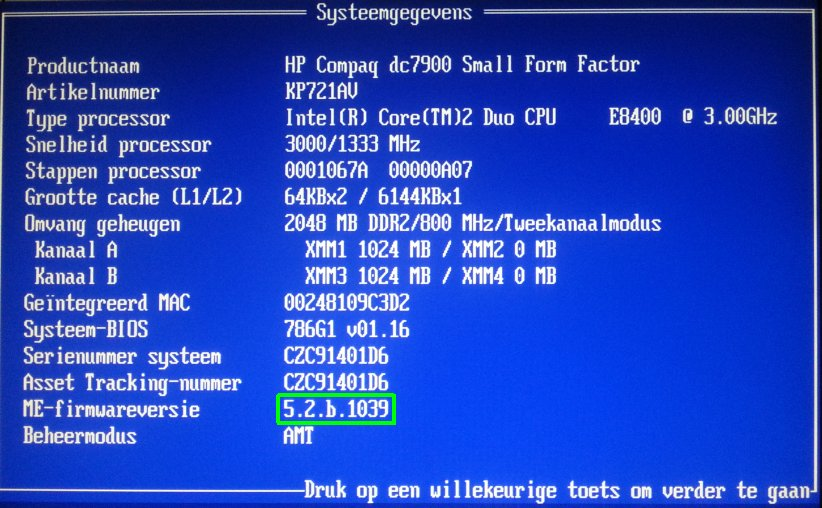 hp dc7900 me firmware na