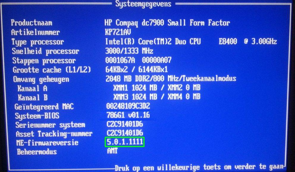 hp dc7900 me firmware voor