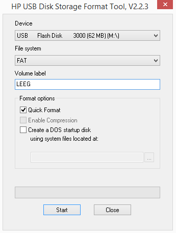 HP USB Disk Storage Format Tool screen
