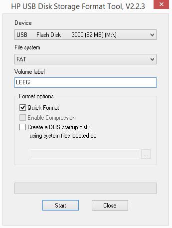 HP USB Disk Storage Format Tool screen