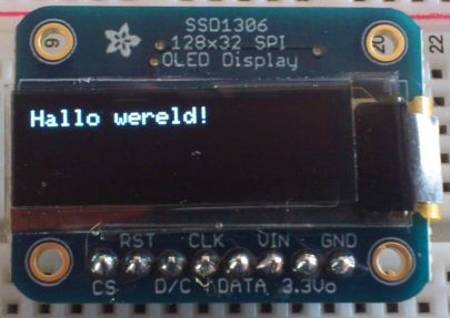 OLED 128x32 SPI display (SSD1306) - hallo wereld