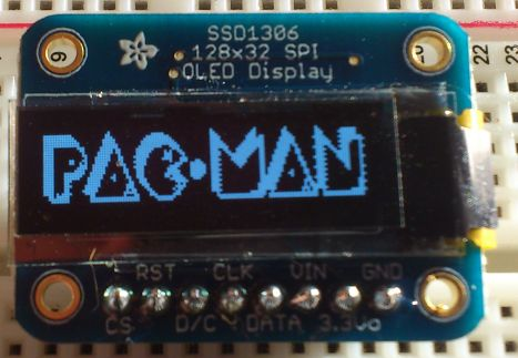 OLED 128x32 SPI display (SSD1306) - pac-man