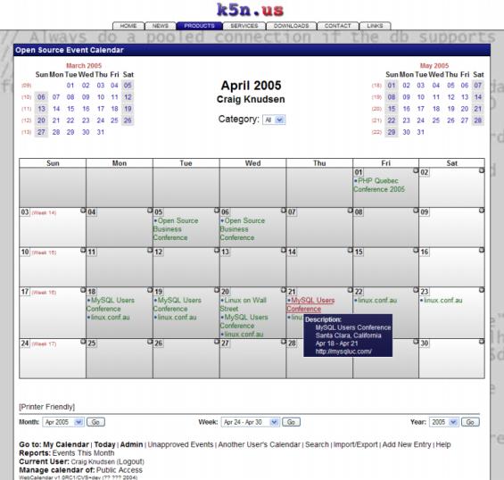 webcalendar maand