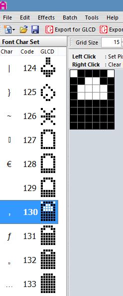 6x8 font symbolen LCD