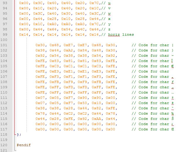 6x8 font symbolen export naar arduino 02