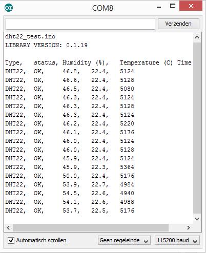 Arduino RobTillaart DHTlib library output