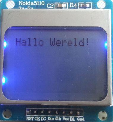 Nokia 5110 scherm - hallo wereld