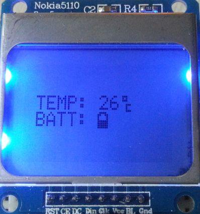 Nokia 5110 scherm - temp en batt