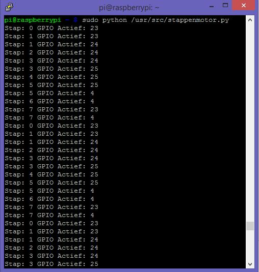 28BYJ-48 via de ULN2003A op Raspberry Pi console ouput