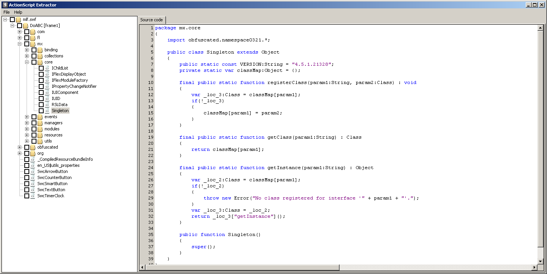 ActionScript Extractor screen