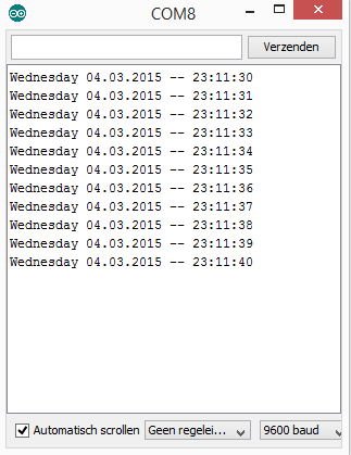 Arduino DS1302 output