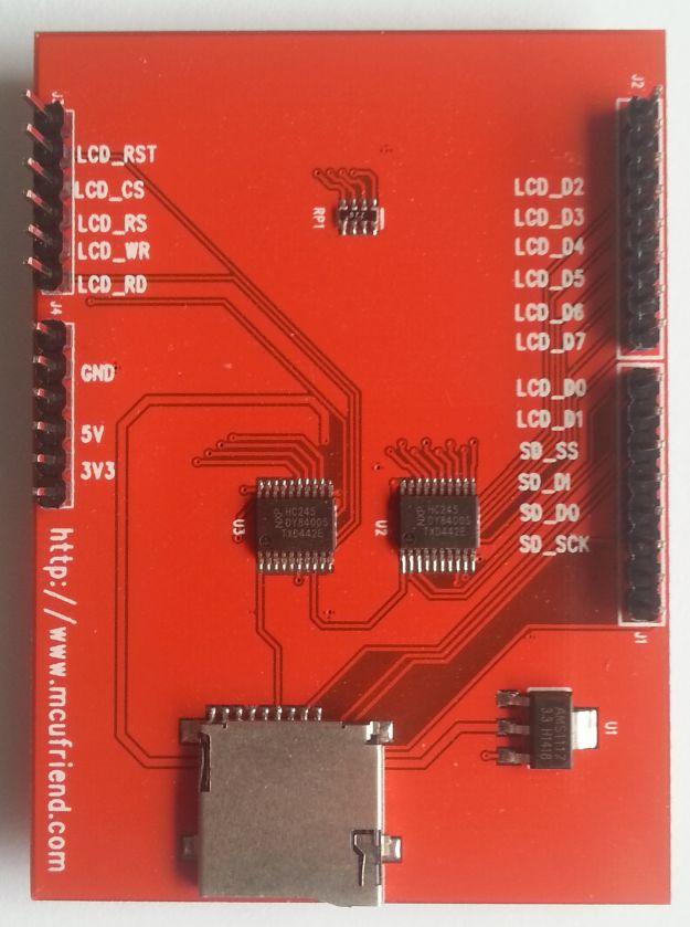 MCUFriend 2.4 inch LCD Shield - S6D0154 driver (0x0154) - onderkant
