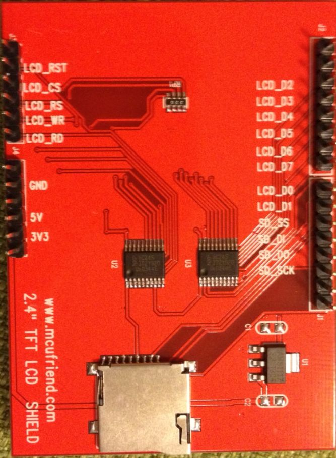 MCUFriend 2.4 inch LCD Shield - ST7783 driver (0x7783) - onderkant