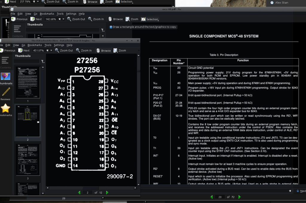 Programming the Vintage Intel MCS-48 Microcontrollers  - Intel Pinouts