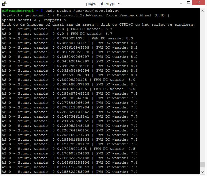 raspberry pi servo sg-90 en game stuur console output