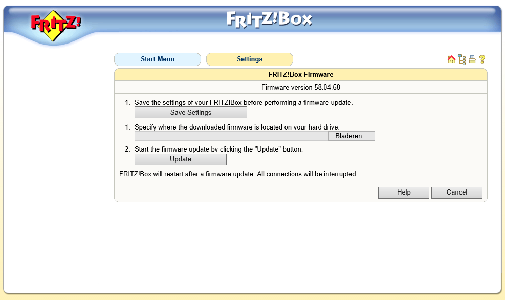 FRITZ!Box Fon WLAN 7170 firmware update 01