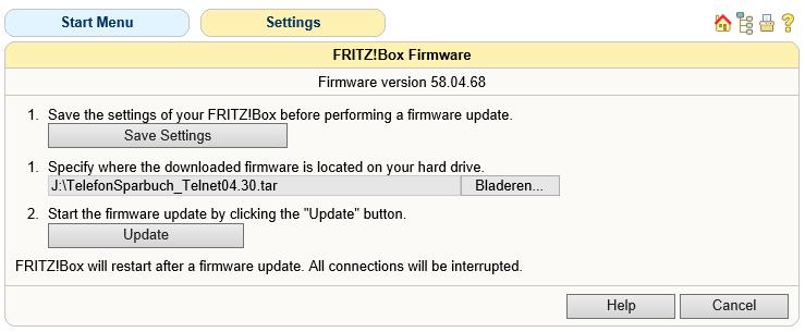 Fritz!Box Fon WLAN 7170 - Telnet toegang 01