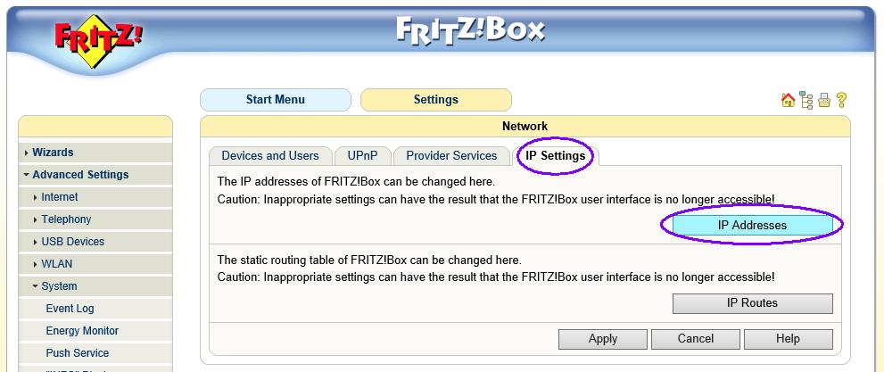 Fritz!Box Fon WLAN 7170 - ip adres aanpassen 02