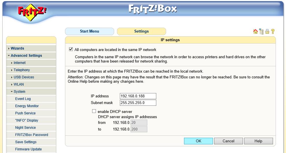 Fritz!Box Fon WLAN 7170 - ip adres aanpassen 03