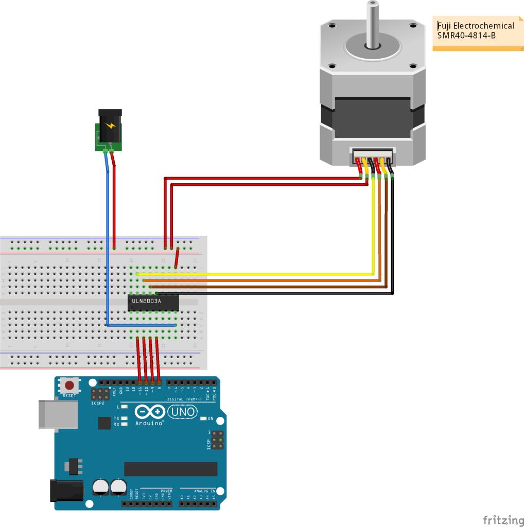 Stappenmotor - Fuji Electrochemical SMR40-4814-B arduino schema