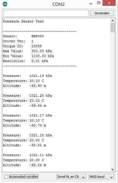 arduino bmp180 console output