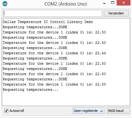 Arduino DS18B20 Dallas TLC+OneWire console output