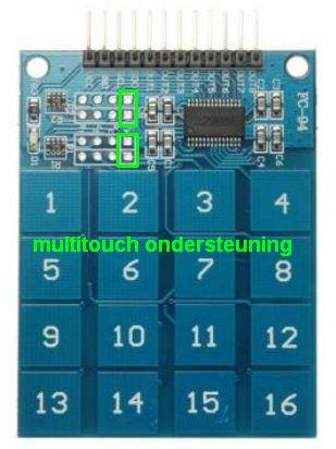 Keypad 4x4 aanraakgevoelig (TTP229) multitouch