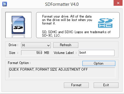 SDFomatter v4.0 screen