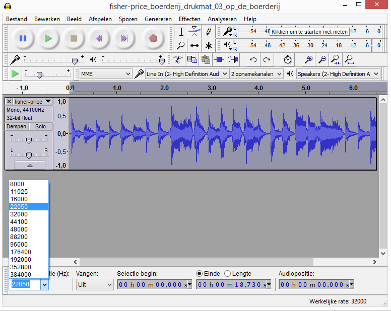 audacity sample rate instellen