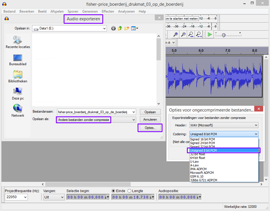 audacity unsigned 8-bit PCM export