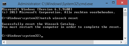 winsock reset in commandline