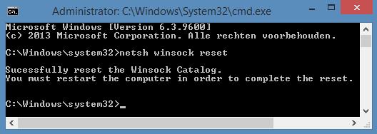 winsock reset in commandline