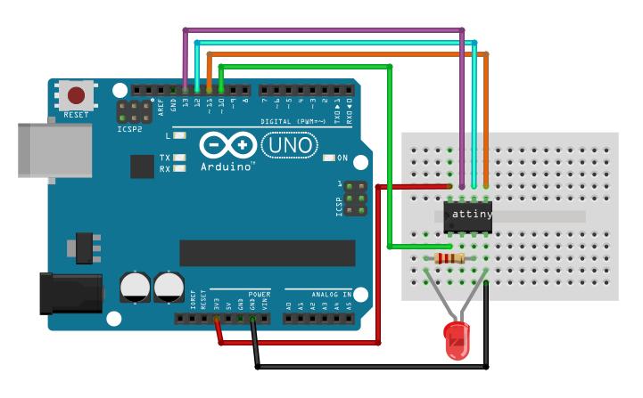 Arduino ISP ATtiny13-25-45-85 met LED
