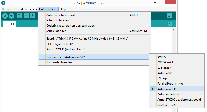 ArduinoIDE - attiny13 programmeren 02 programmer