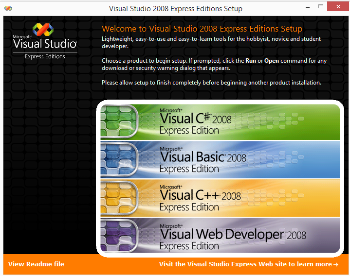 Visual Studio 2008 Express Edition screen