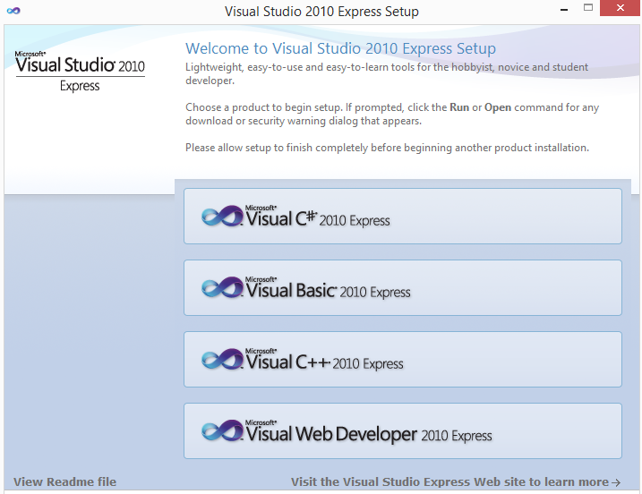 Visual Studio 2010 express edition screen