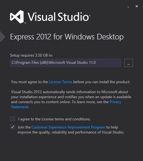Visual Studio 2012 express edition screen