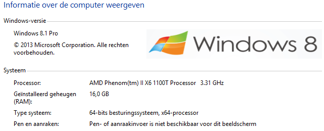 windows 8 systeem eigenschappen logo aangepast
