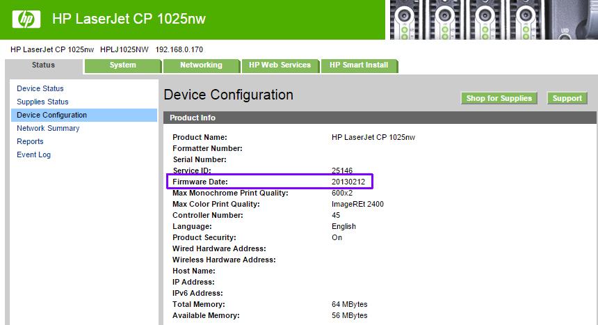 HP LaserJet CP 1025nw firmware v20130212