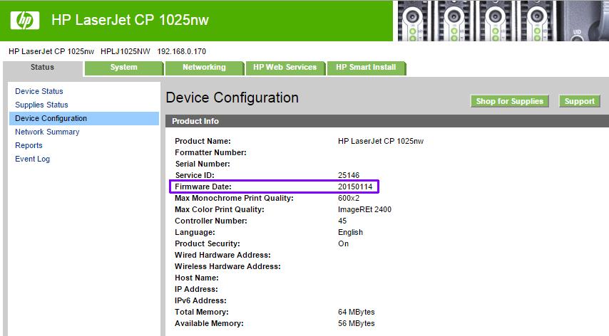 HP LaserJet CP 1025nw firmware v20150114