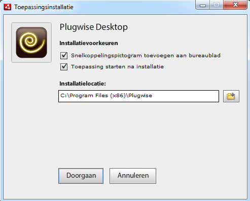 plugwise desktop installatie screen