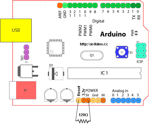 arduino autoreset tegengaan - weerstand